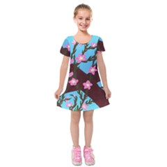 Cherry Blossom Branches Kids  Short Sleeve Velvet Dress