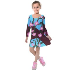 Cherry Blossom Branches Kids  Long Sleeve Velvet Dress