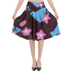 Cherry Blossom Branches Flared Midi Skirt
