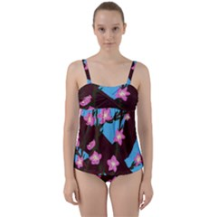 Cherry Blossom Branches Twist Front Tankini Set
