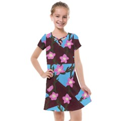 Cherry Blossom Branches Kids  Cross Web Dress