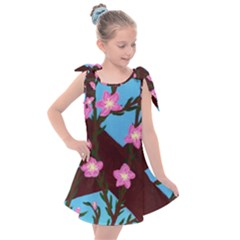 Cherry Blossom Branches Kids  Tie Up Tunic Dress