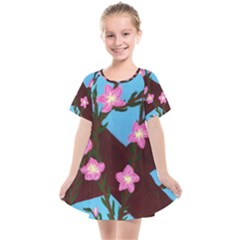 Cherry Blossom Branches Kids  Smock Dress