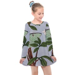 Lunar Moths Kids  Long Sleeve Dress