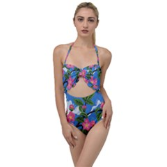Cherry Blossoms Scallop Top Cut Out Swimsuit