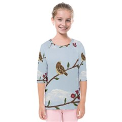 Robin On Plumb Tree Kids  Quarter Sleeve Raglan Tee