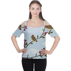 Robin On Plumb Tree Cutout Shoulder Tee
