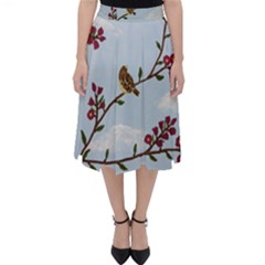 Robin On Plumb Tree Folding Skater Skirt