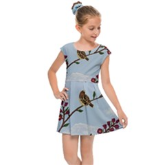 Robin On Plumb Tree Kids Cap Sleeve Dress
