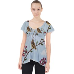 Robin On Plumb Tree Lace Front Dolly Top