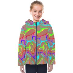Colorful Wavy Shapes                                           Kids  Hooded Puffer Jacket