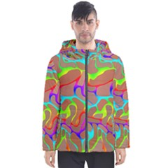 Colorful Wavy Shapes                                            Men s Hooded Puffer Jacket