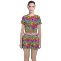 Colorful Wavy Shapes                                      Crop Top And Shorts Co Ord Set