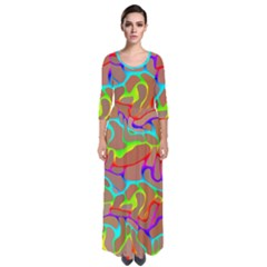 Colorful Wavy Shapes                                              Quarter Sleeve Maxi Dress by LalyLauraFLM