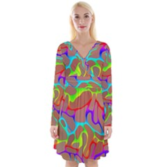 Colorful Wavy Shapes                                               Long Sleeve Front Wrap Dress