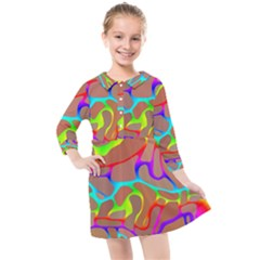 Colorful Wavy Shapes                               Kids  Quarter Sleeve Shirt Dress