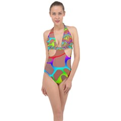 Colorful Wavy Shapes                                            Halter Front Plunge Swimsuit