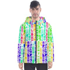 Colorful Stripes                                           Men s Hooded Puffer Jacket by LalyLauraFLM