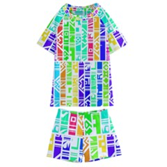 Colorful Stripes                                     Kids  Swim Tee And Shorts Set