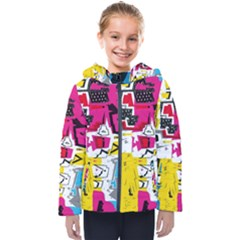 Distorted Shapes                                           Kids  Hooded Puffer Jacket