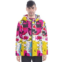 Distorted Shapes                                            Men s Hooded Puffer Jacket