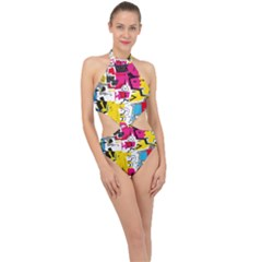 Distorted Shapes                                           Halter Side Cut Swimsuit