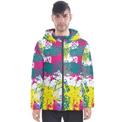 Cracked Shapes                                             Men s Hooded Puffer Jacket