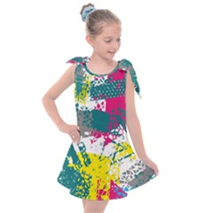 Cracked Shapes                                         Kids  Tie Up Tunic Dress