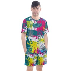 Cracked Shapes                                           Men s Mesh Tee And Shorts Set
