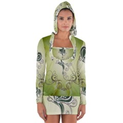 Wonderful Butterlies , Green Colors Long Sleeve Hooded T Shirt by FantasyWorld7