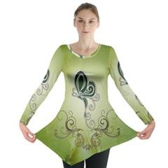 Wonderful Butterlies , Green Colors Long Sleeve Tunic  by FantasyWorld7