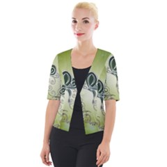Wonderful Butterlies , Green Colors Cropped Button Cardigan