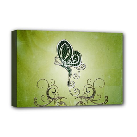 Wonderful Butterlies , Green Colors Deluxe Canvas 18  X 12  (stretched) by FantasyWorld7