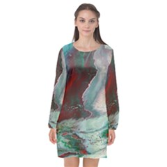 Dreams In Color Long Sleeve Chiffon Shift Dress