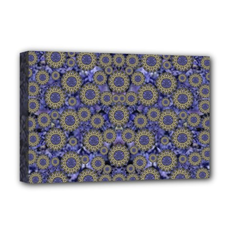 Blue Small Wonderful Floral In Mandalas Deluxe Canvas 18  X 12  (stretched) by pepitasart