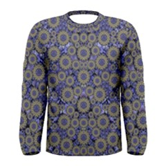 Blue Small Wonderful Floral In Mandalas Men s Long Sleeve Tee by pepitasart