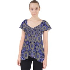 Blue Small Wonderful Floral In Mandalas Lace Front Dolly Top by pepitasart