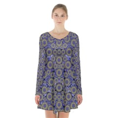 Blue Small Wonderful Floral In Mandalas Long Sleeve Velvet V-neck Dress by pepitasart