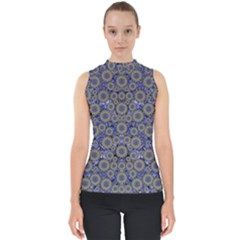 Blue Small Wonderful Floral In Mandalas Mock Neck Shell Top