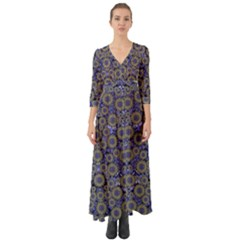 Blue Small Wonderful Floral In Mandalas Button Up Boho Maxi Dress by pepitasart