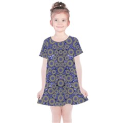 Blue Small Wonderful Floral In Mandalas Kids  Simple Cotton Dress