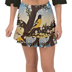 Oriole Fishtail Mini Chiffon Skirt