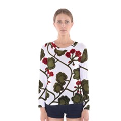 Geraniums Women s Long Sleeve Tee