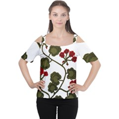Geraniums Cutout Shoulder Tee