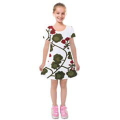 Geraniums Kids  Short Sleeve Velvet Dress