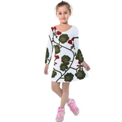 Geraniums Kids  Long Sleeve Velvet Dress