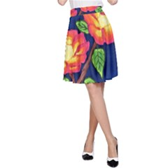 Sunset Flowers A Line Skirt