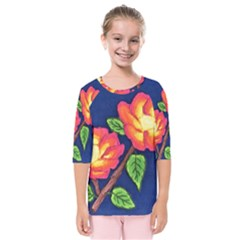 Sunset Flowers Kids  Quarter Sleeve Raglan Tee