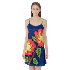 Sunset Flowers Satin Night Slip