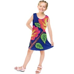 Sunset Flowers Kids  Tunic Dress
